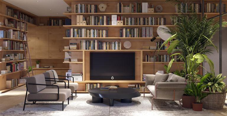 Organiser les étagères ouvertes - Mini bibliothèque dans un appartement