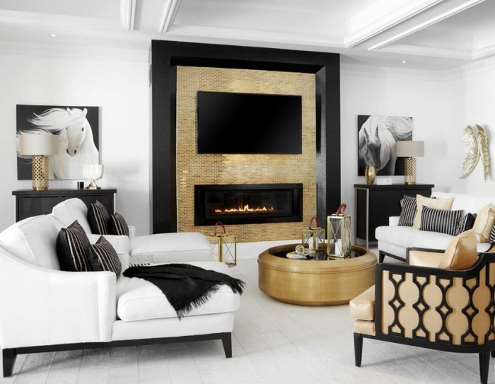 Design and decoration of a modern living room with a fireplace