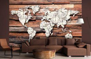 Carta da parati fotografica in forma di mappa del mondo all'interno