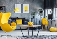 Salon gris et jaune: Idées de conception et décoration