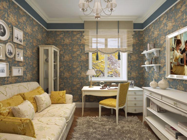 Salon de gris jaune dans un style provençal