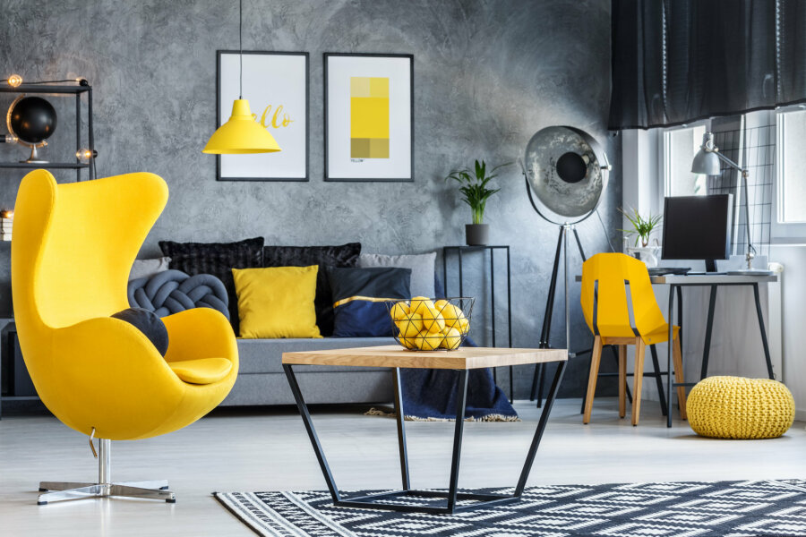 Gray and yellow living room: Design and decoration ideas