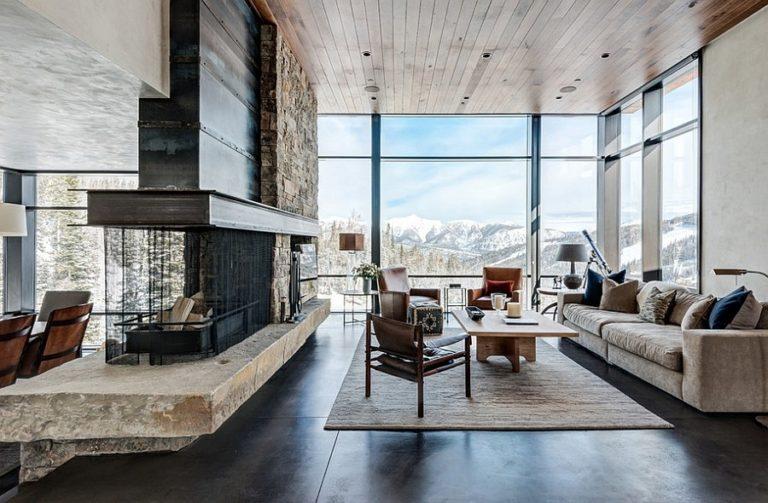 Modern rustic living room: Interior design and decoration