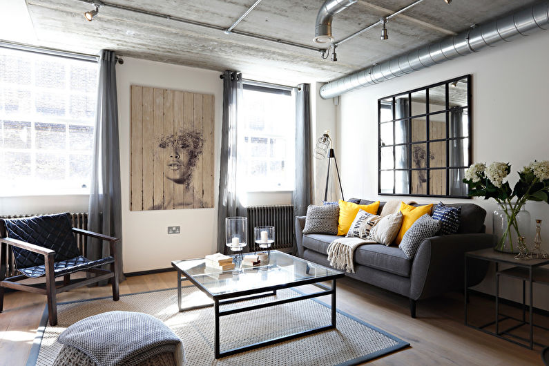 Loft style living room: Design and decoration