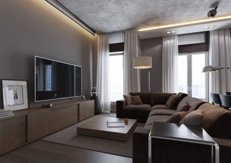 Design and decoration of a taupe gray living room (+30 photos)
