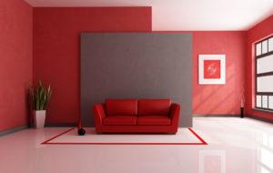 Interiore del soggiorno in rosso
