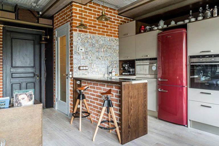 Red fridge loft kitchen