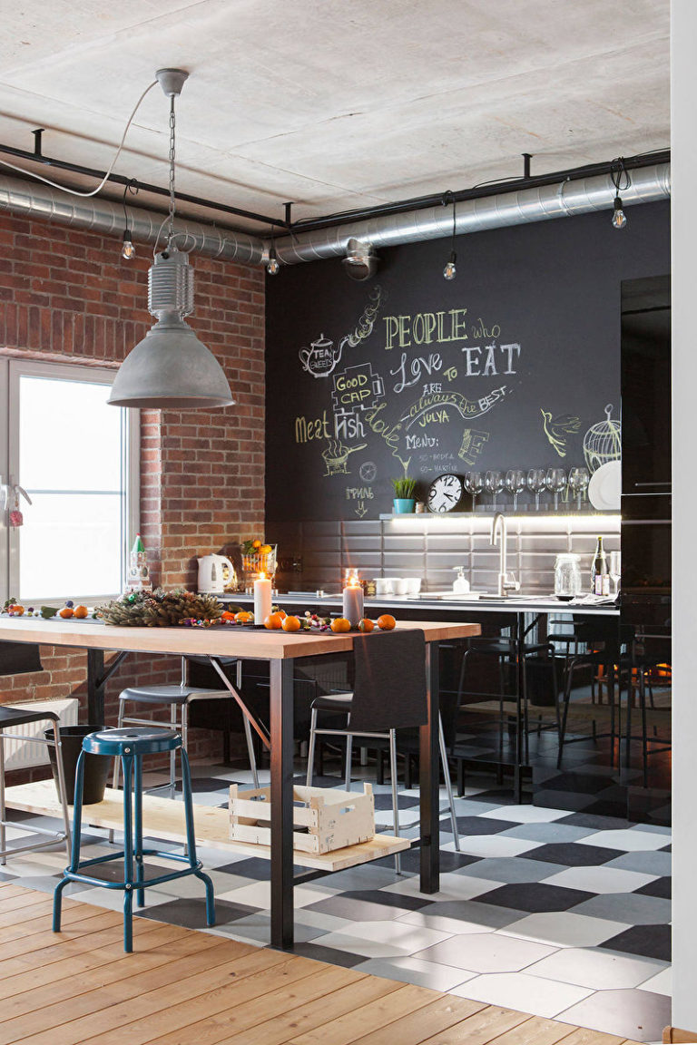 Loft style kitchen: Ideas for renovation and decoration