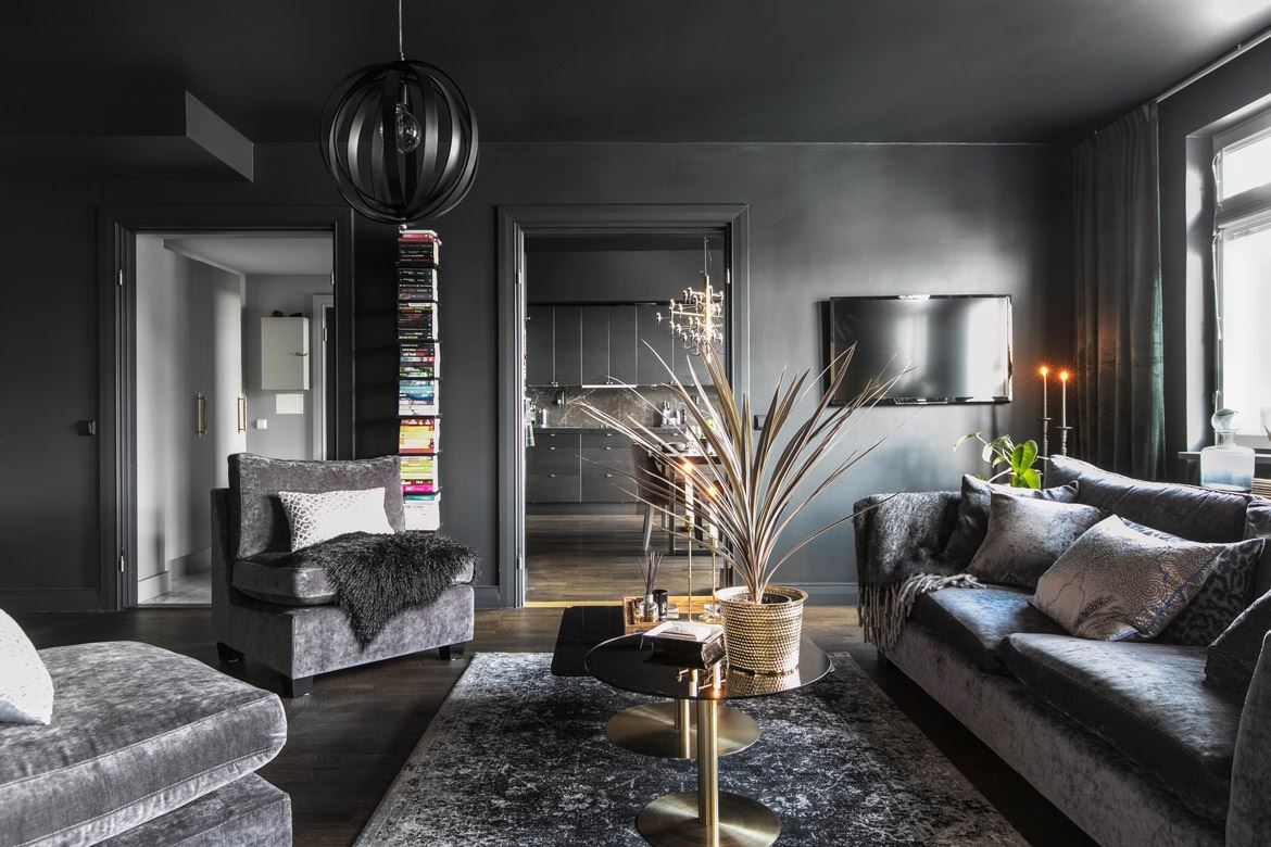 Gray living room: Interior design and decoration