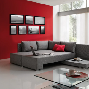 Decoration Of A Gray Red Living Room