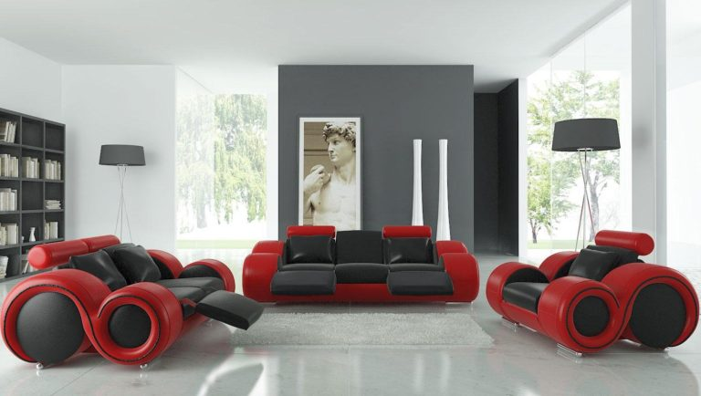 Ideas For A Red Living Room Design Combined With Other Colors