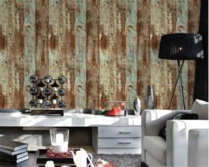 Decorazione murale con carta da parati effetto legno