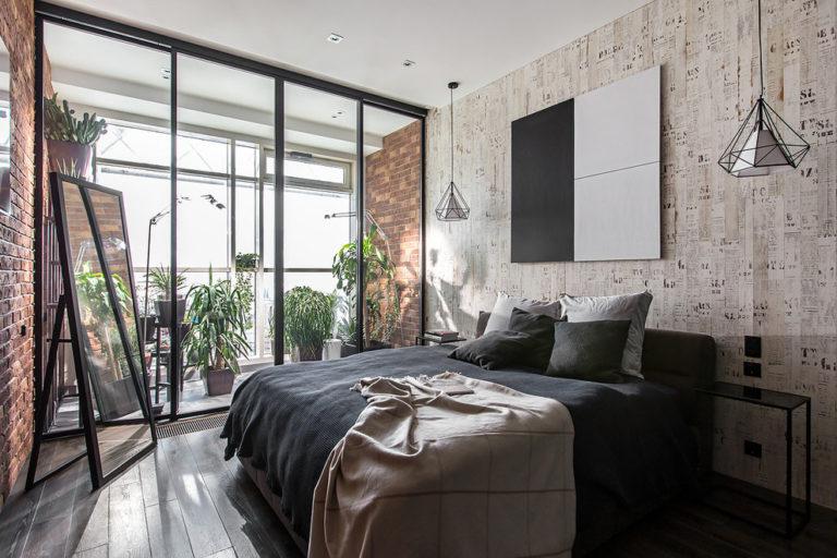 Loft style wallpaper in the interior