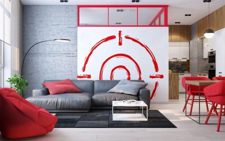 Soggiorno rosso-grigio: approcci al design e alla decorazione