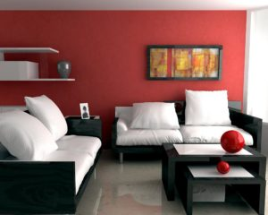 Design and decoration of a gray-red living room interior