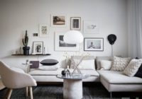 Living room design in white and gray tones
