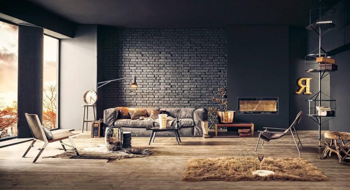 Mur de briques dans le salon: Idées de design