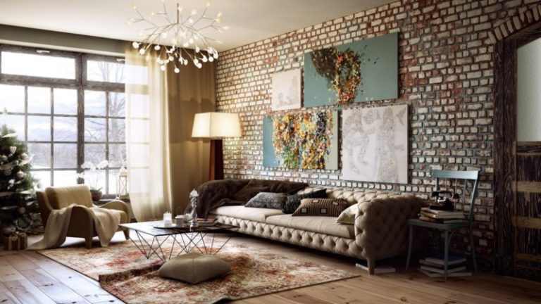 Living Room With A Brick Wall A Fashionable And Relevant Interior