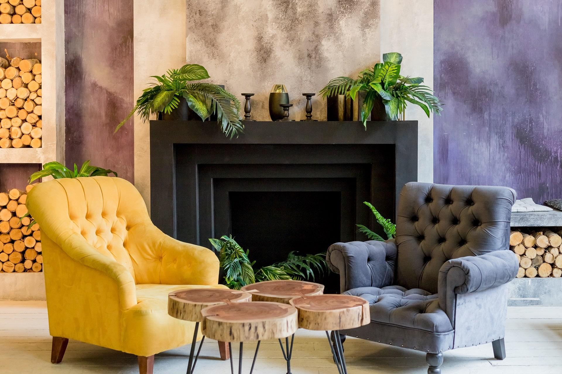 Mur d'accent dans le salon: conseils et idées