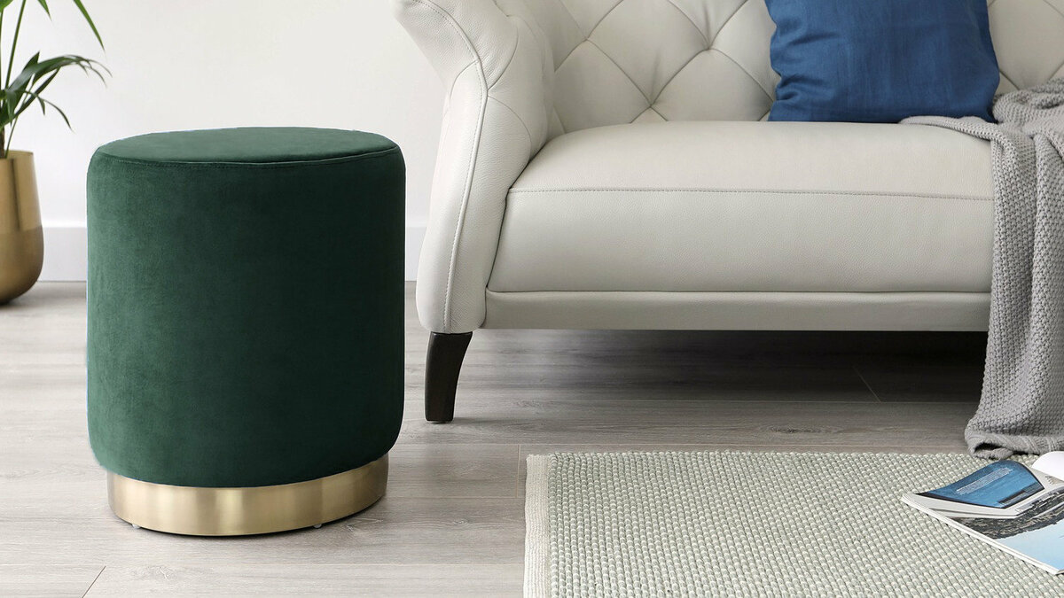 Poufs, Ottomans, and Footstools: types, sizes, colors, DIY, and decorating ideas