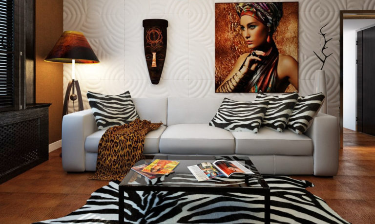 Safari landscapes and wild animals: Living room in African style