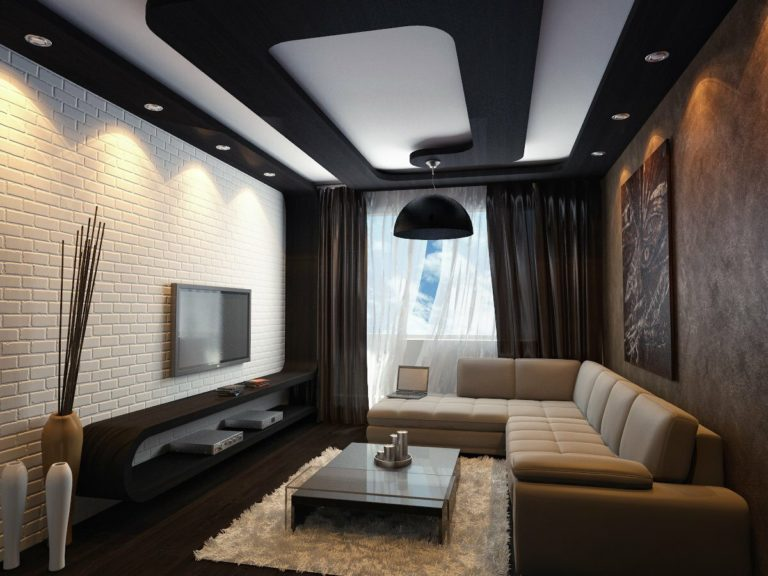 Living room ceiling design: types, colors, and other ideas ...