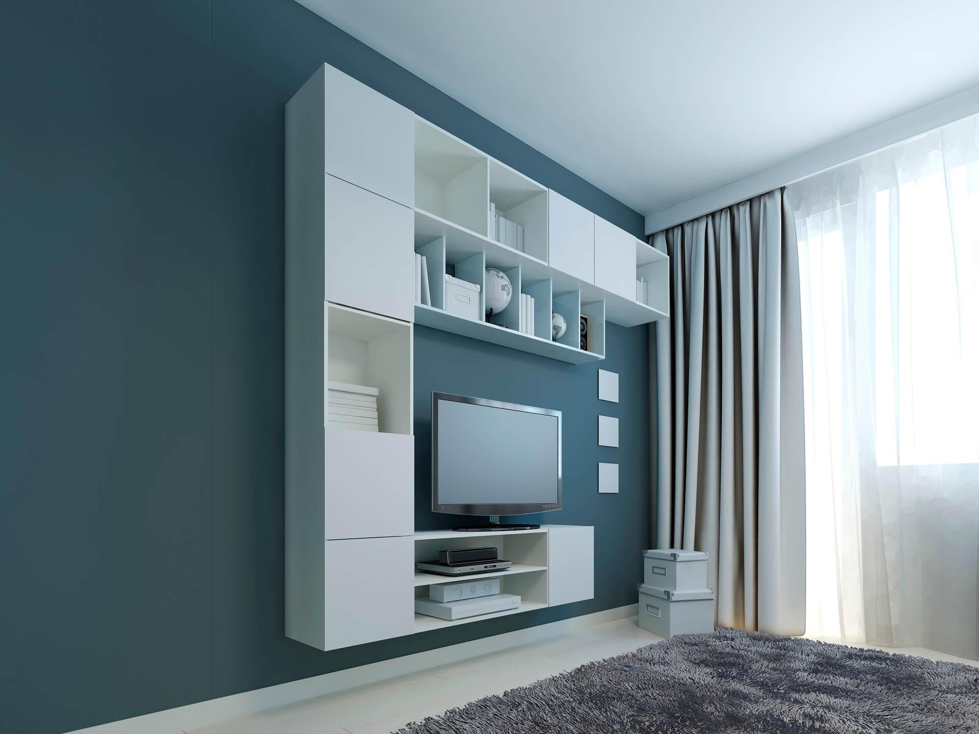 Какие шторы хорошо сочетаются с синими стенами (обоями)