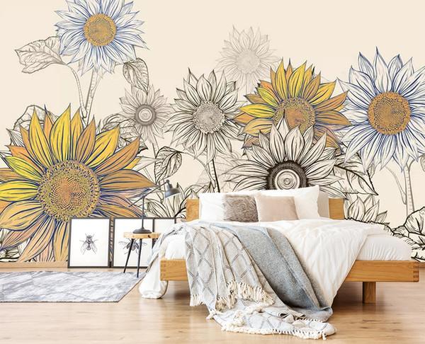 Papier peint tournesol: 15 idées pour différentes pièces